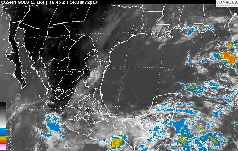 Durante las próximas horas se prevén tormentas intensas en zonas de Guerrero, Oaxaca y Chiapas