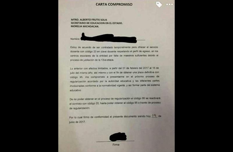 Aunque por un lado aceptó que hubo egresados contratados, Frutis Solís negó que se haya firmado algún tipo de carta compromiso como publicaron los normalistas en sus redes sociales