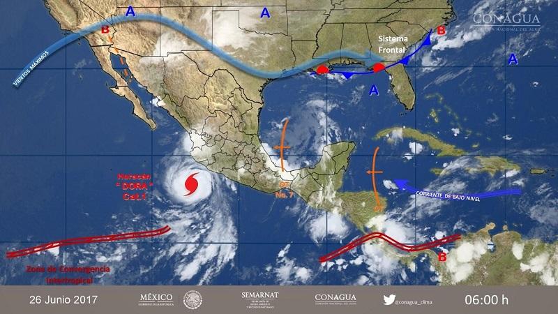 Tormentas muy fuertes con puntuales intensas, se esperan en Michoacán, Guerrero, Oaxaca y Chiapas