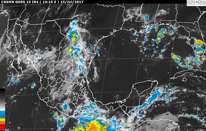Asimismo, se pronostican lluvias con intervalos de chubascos en sitios de Nuevo León, San Luis Potosí, Tamaulipas, Querétaro, Hidalgo, Puebla, Estado de México, Ciudad de México, Morelos y Quintana Roo, y lluvias dispersas en Baja California, Baja California Sur y Tlaxcala
