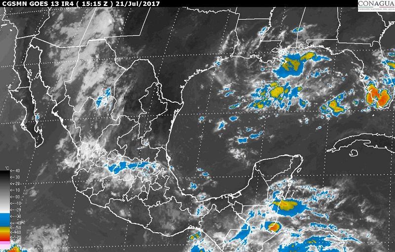 Asimismo, se pronostican lluvias con intervalos de chubascos en Coahuila, Nuevo León, Aguascalientes, Zacatecas, San Luis Potosí, Tamaulipas, Guanajuato, Querétaro, Hidalgo, Tlaxcala, Puebla, Morelos y Ciudad de México