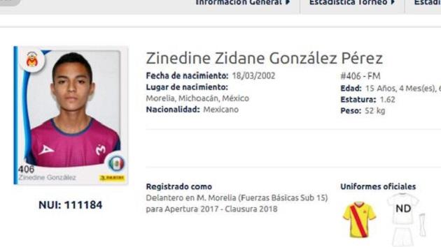 El jugador que participará con Monarcas es el juvenil Zinedine Zidane González Pérez, quien se desempeña como delantero y fue registrado en las Fuerzas Básicas del club para el Apertura 2017
