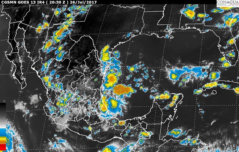 Las precipitaciones son generadas por la Onda Tropical Número 19, que se extenderá en el sur de las costas de Guerrero y Michoacán, y una zona de inestabilidad que se localizará en el noreste de México