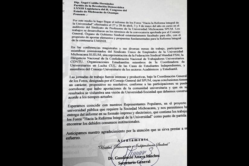 La molestia del SUEUM radica principalmente en que Gaudencio Anaya pasó por alto el artículo octavo de la Ley Orgánica asumiéndose como portavoz de toda la comunidad, pues, a la fecha, se desconocen aún los resolutivos de los foros respecto a la posible modificación del sistema de pensiones
