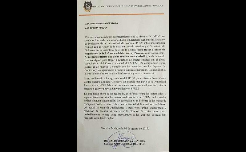 Gaudencio Anaya aseguró que no ha tenido reunión alguna sin conocimiento del Consejo General del SPUM y los agremiados