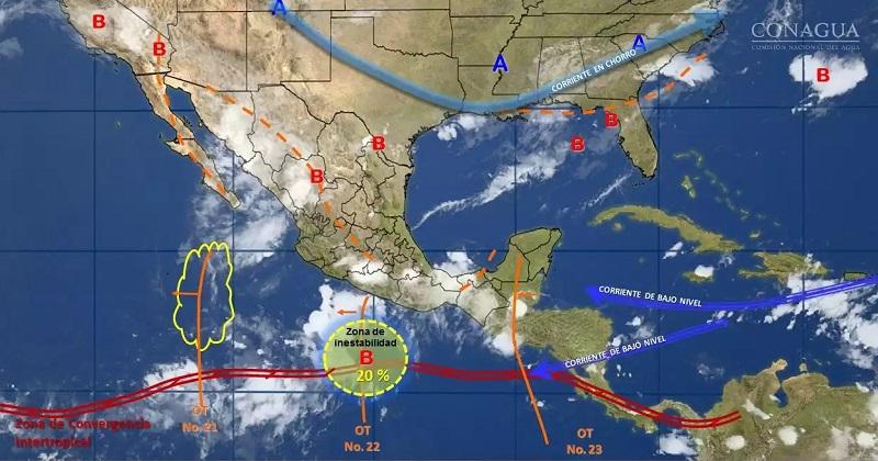 Al mismo tiempo continuará el ambiente muy caluroso en el norte del país, con temperatura que podría superar 40 grados Celsius en Baja California, Baja California Sur, Sonora, Chihuahua, Coahuila, Nuevo León, Tamaulipas y Sinaloa
