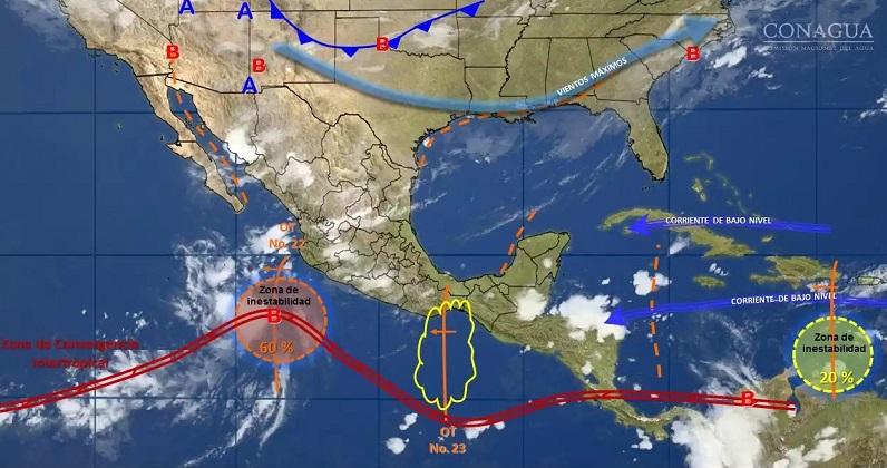 Asimismo, se prevén lluvias con intervalos de chubascos en Tamaulipas, Zacatecas, Aguascalientes, Guanajuato, Hidalgo, Tlaxcala, Ciudad de México y Morelos, y lluvias dispersas en Baja California, Baja California Sur, San Luis Potosí y Querétaro