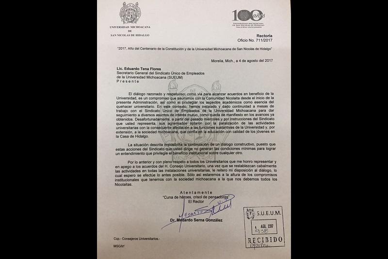 La invitación a dialogar con el SUEUM se hizo cuando las instalaciones universitarias no estaban ilegalmente ocupadas: Serna González