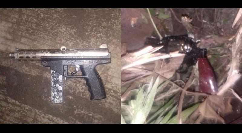 A los detenidos se les aseguró una pistola tipo revólver y una subametralladora que ya forman parte también de los elementos de prueba presentados ante la autoridad