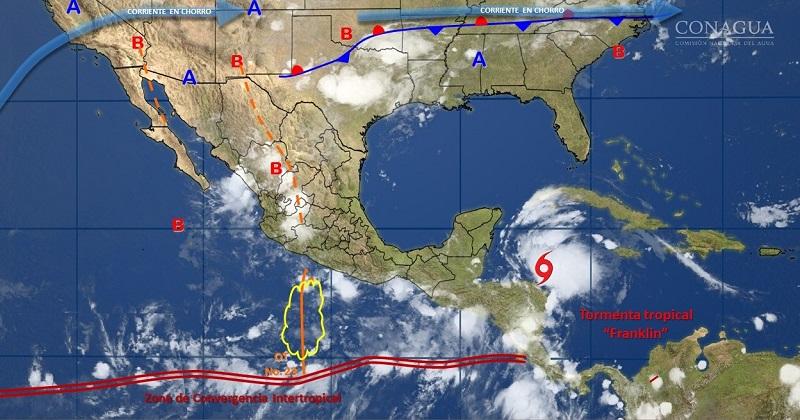 Las zonas de tormenta implican relámpagos, fuertes rachas de viento, posible caída de granizo y probable formación de tolvaneras, turbonadas, trombas, torbellinos o tornados