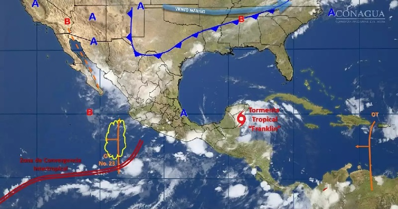 Se pronostican tormentas muy fuertes en zonas de Durango, Sinaloa, Nayarit y Puebla; tormentas locales fuertes en Sonora, Chihuahua, Coahuila, Nuevo León, Jalisco, Colima, Michoacán y Guerrero