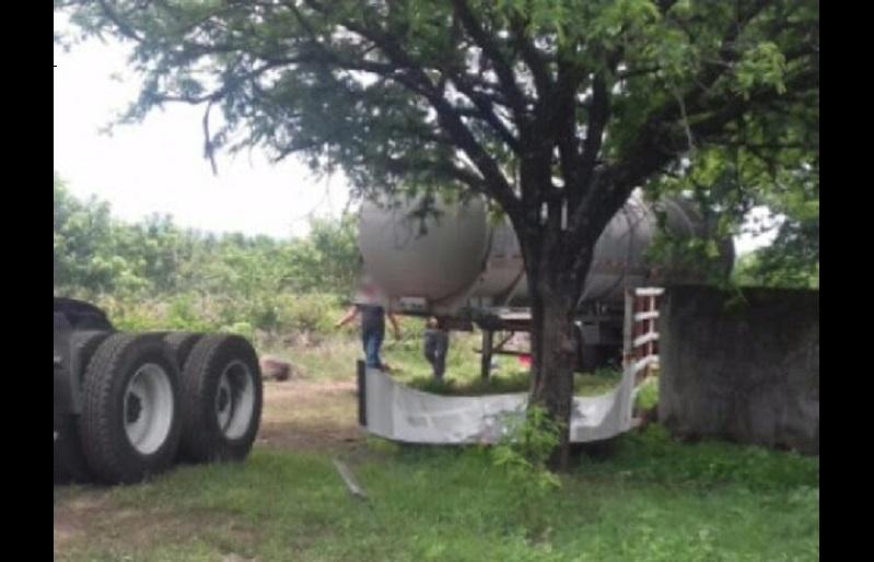 El tanque tiene reporte de robo y fue puesto a disposición de la autoridad competente