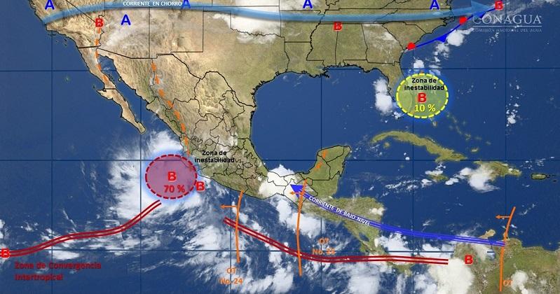 Este mismo día, temperaturas que podrían ser mayores a 40 grados Celsius, se prevén en Baja California, Baja California Sur, Sonora, Chihuahua, Coahuila, Nuevo León, Tamaulipas, Durango, Sinaloa, Nayarit, Michoacán, Guerrero y Oaxaca
