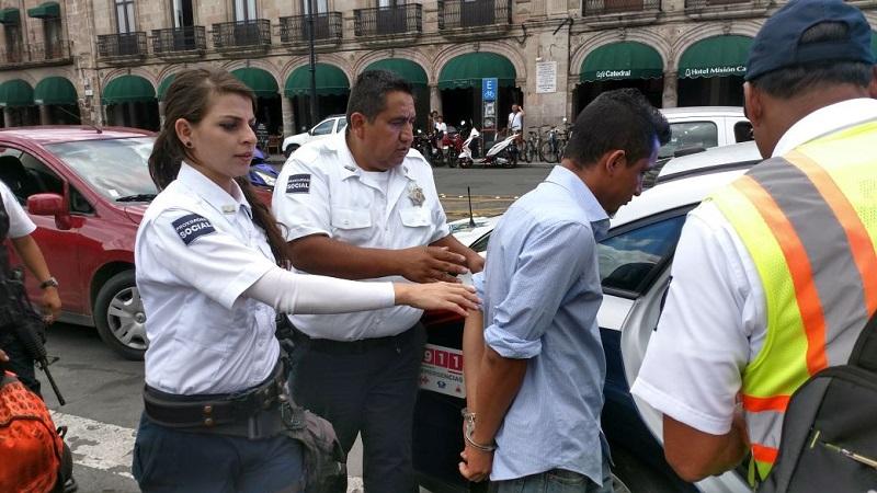 En el aseguramiento participaron elementos de Grupo Tigre de seguridad privada y de la Policía de Morelia