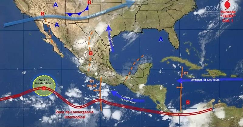 Se pronostican tormentas muy fuertes en regiones de Durango, Sinaloa, Nayarit, Jalisco, Colima y Michoacán; así como tormentas locales fuertes en Chihuahua, Zacatecas, Guanajuato, Estado de México, Ciudad de México, Morelos, Puebla, Tlaxcala, Guerrero, Oaxaca, Chiapas y Veracruz