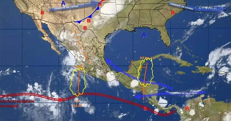 Vientos fuertes con rachas superiores a 50 kilómetros por hora (km/h), se pronostican para Baja California, Baja California Sur, costas de Jalisco, Colima, Michoacán, Tabasco, Campeche y Yucatán