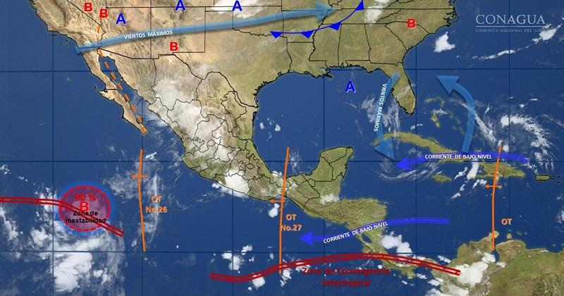 Para este mismo día, temperaturas que podrían superar 40 grados Celsius, se estiman en Baja California, Baja California Sur, Sonora, Chihuahua, Coahuila, Nuevo León, Tamaulipas, Sinaloa, Michoacán y Guerrero