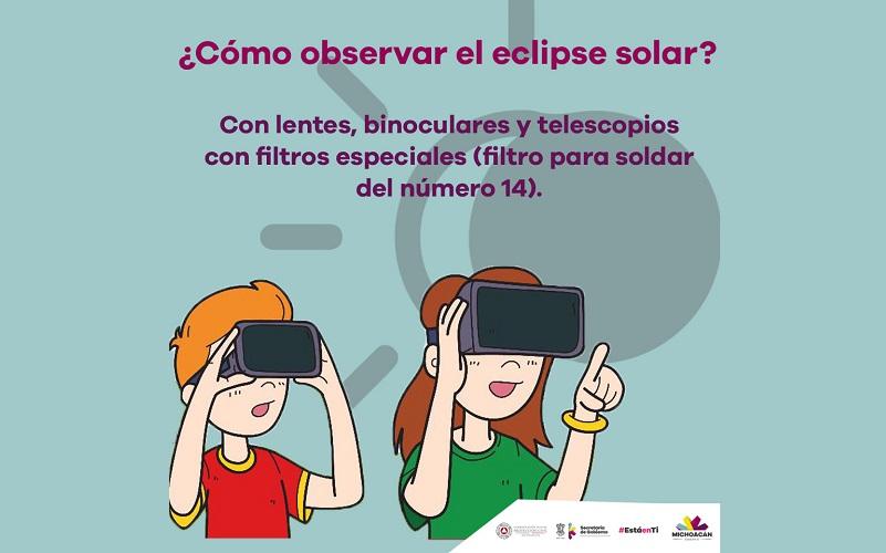 Durante el eclipse se recomienda evitar mirar de manera directa el sol, toda vez que puede dañar la retina en poco tiempo