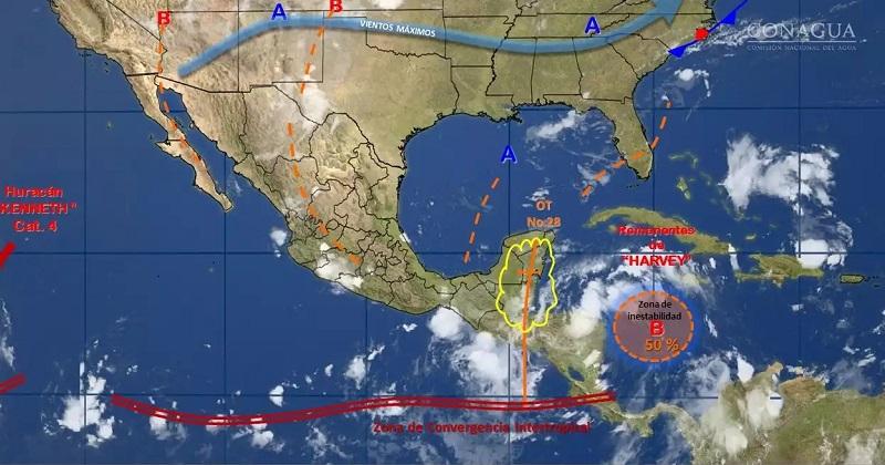 Para este mismo día, temperaturas que podrían superar 40 grados Celsius, se pronostican para Baja California, Baja California Sur, Sonora, Chihuahua, Coahuila, Nuevo León, Tamaulipas, Sinaloa, Nayarit y Michoacán