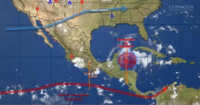 Asimismo, se prevén tormentas fuertes en localidades del Estado de México, así como lluvias dispersas en Baja California Sur, Coahuila, Zacatecas, Aguascalientes, Guanajuato y Querétaro