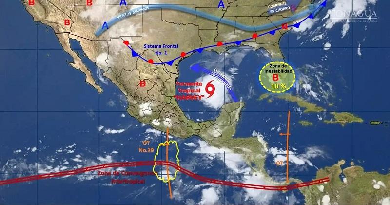 Asimismo, se prevén tormentas fuertes en áreas de Sonora, Sinaloa, Coahuila, Nuevo León, Durango, Estado de México, Ciudad de México, Morelos, Puebla, Tlaxcala, Campeche, Yucatán y Quintana Roo
