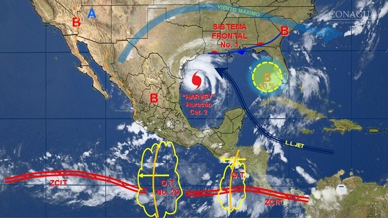 Se prevén lluvias con intervalos de chubascos en Baja California Sur, Zacatecas, Aguascalientes, Guanajuato, San Luis Potosí, Hidalgo, Tlaxcala, Ciudad de México y Quintana Roo, y lluvias dispersas en Querétaro