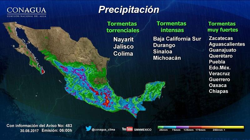 Dichas condiciones serán originadas por la Depresión Tropical 14-E ubicada al sur de la Península de Baja California y por un canal de baja presión en el occidente de México