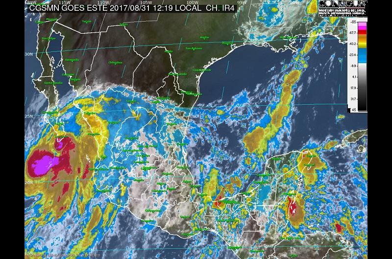 Asimismo, se prevén tormentas muy fuertes en Aguascalientes, Colima, Estado de México, Ciudad de México, Puebla y Campeche