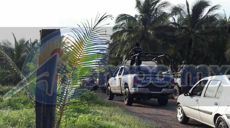 Personal de la Policía Michoacán y del Ejército Mexicano se unieron a las tareas de búsqueda de los hechores, registrándose un fuerte operativo en el lugar