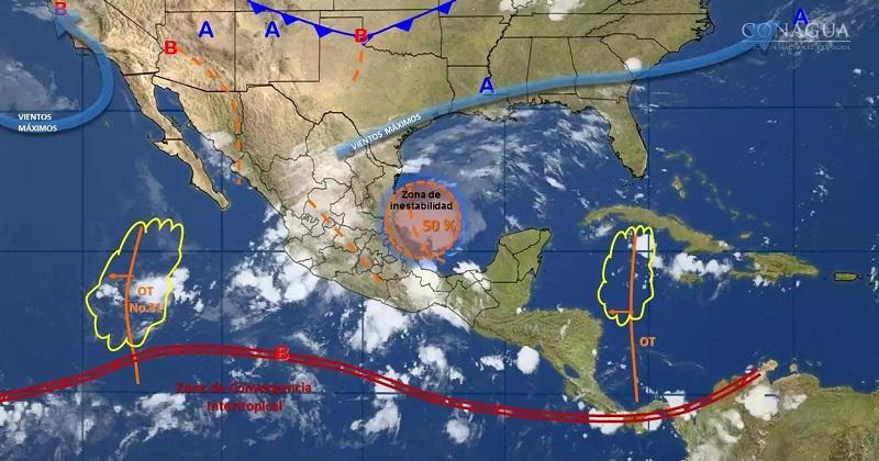 Se pronostican tormentas fuertes en regiones de Coahuila, Aguascalientes, Colima, Michoacán, Guerrero, Morelos, Ciudad de México, Campeche, Yucatán y Quintana Roo, e intervalos de chubascos en áreas de Baja California Sur, Sonora y Chihuahua