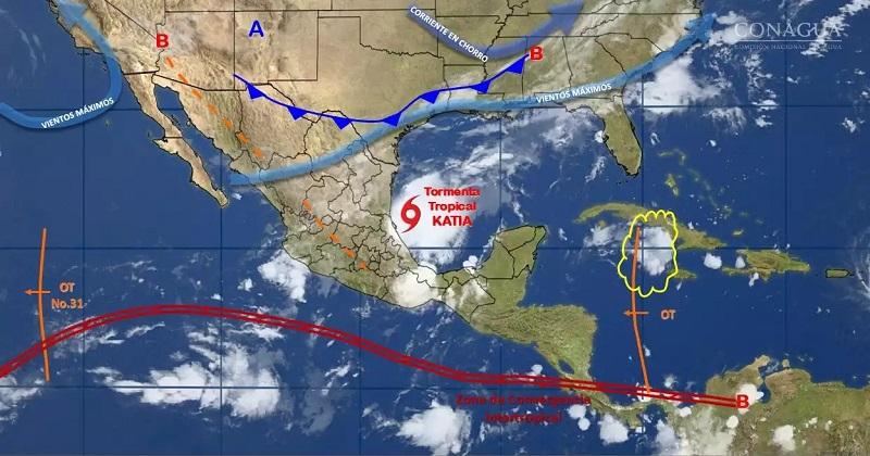 Debido a Katia, el SMN, en coordinación con el Centro Nacional de Huracanes de Miami, Florida, estableció zona de vigilancia en las costas de Tamaulipas y Veracruz