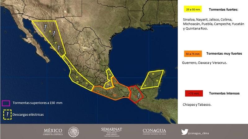 Asimismo, se prevén lluvias con intervalos de chubascos en Chihuahua, Durango, Yucatán y Quintana Roo, y lluvias dispersas en Baja California Sur, Tamaulipas, Estado de México, Ciudad de México, Morelos y Tlaxcala