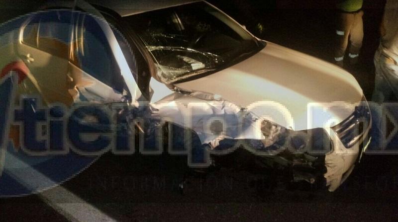En el lugar localizaron un vehículo Volkswagen tipo Jetta, de color blanco, con placas de circulación PFX-666-W del estado de Michoacán, el cual estaba completamente destrozado del frente y a un costado, así mismo a unos metros un semoviente tirado