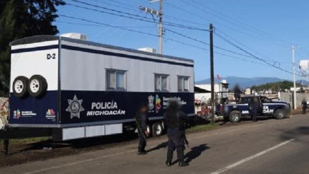 La instalación de este cuartel móvil da certeza a las labores de la Policía Michoacán para optimizar la operatividad y respuesta para detectar, inhibir y abatir delitos en Uruapan