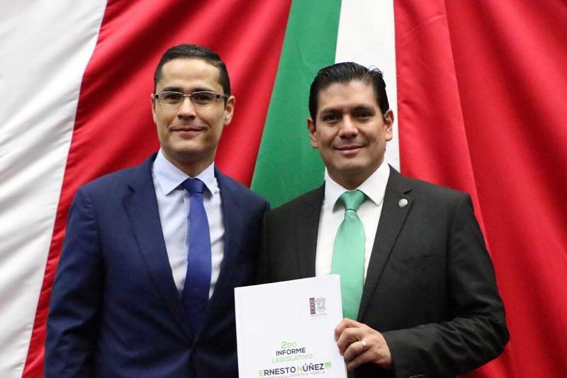 Núñez Aguilar presentó iniciativas como la Ley de Mejora Regulatoria del Estado de Michoacán y sus Municipios; propuesta de Ley de Adquisiciones, Arrendamientos y contratación de Servicios e implementar el juicio en línea en el Tribunal de Justicia Administrativa