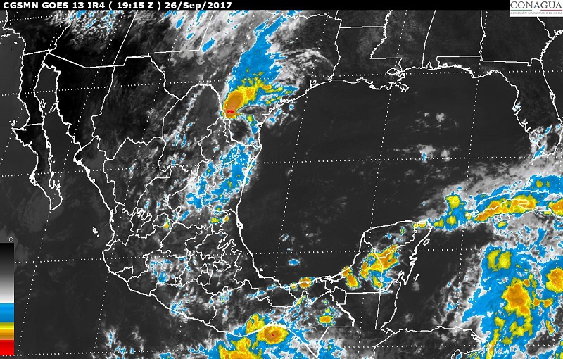 Las condiciones mencionadas serán originadas por dos canales de baja presión extendidos en el occidente y en el sureste de México, respectivamente, y el Frente Frío Número 3, que se localizará en el norte del país