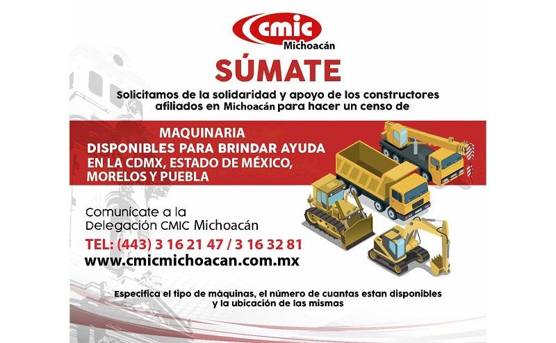 Al respecto, el presidente de la CMIC en la entidad, Jorge Tovar Zavala, anunció que este organismo empresarial se encuentra preocupado por la situación que actualmente atraviesan la Ciudad de México, el Estado de México, Puebla, Morelos, Chiapas y Oaxaca