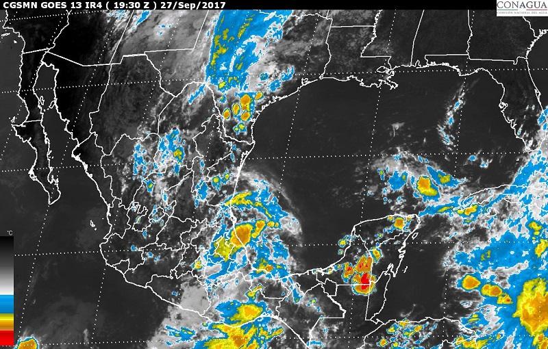 Se pronostican tormentas locales fuertes en Chihuahua, Durango, Zacatecas, San Luis Potosí, Aguascalientes, Jalisco, Michoacán, Guanajuato, Querétaro, Hidalgo, Tlaxcala, Morelos y Ciudad de México