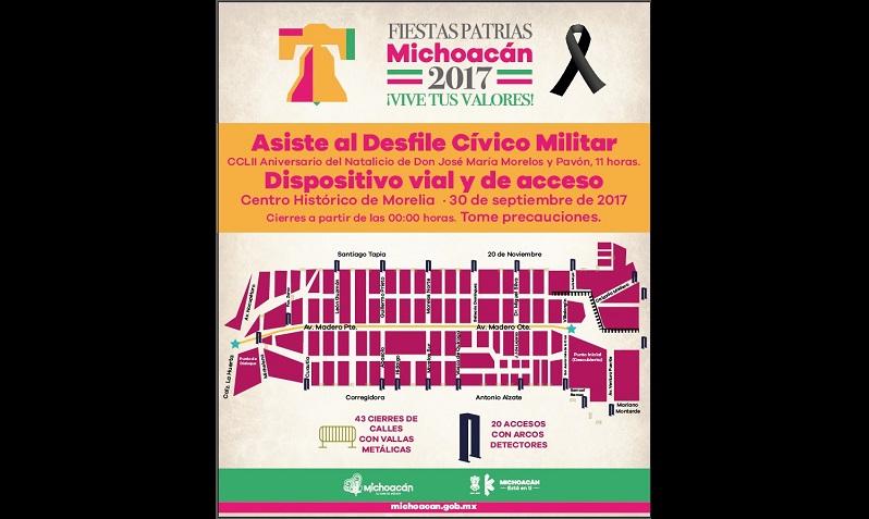 A partir de las 07:00 horas comenzará el acceso controlado y a las 09:00 se vigilará el recorrido del Bando Solemne a la Casa Museo y Casa Sitio de Morelos, para el inicio a las 11:00 horas del tradicional desfile