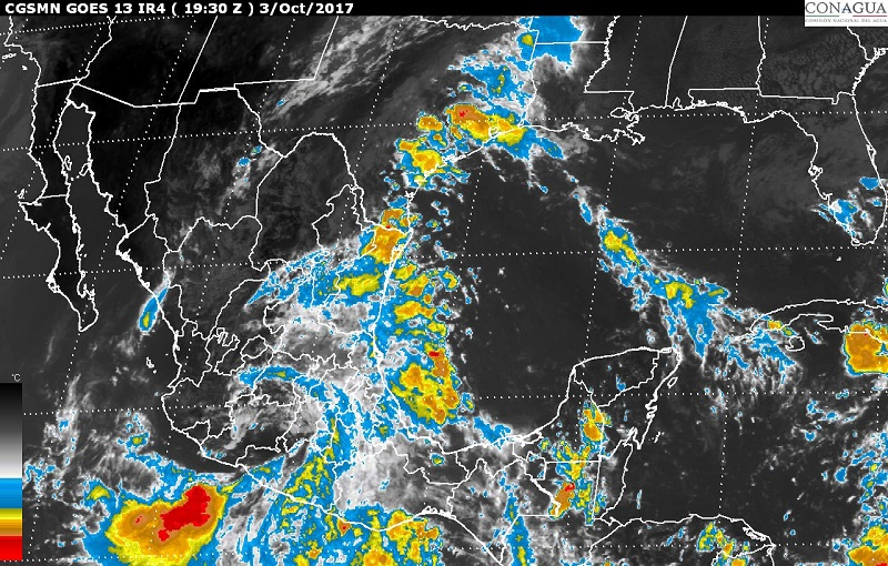 El SMN vigila una zona de inestabilidad que está en el Océano Pacífico y tiene 40% de probabilidad de desarrollo ciclónico en el pronóstico a 48 horas