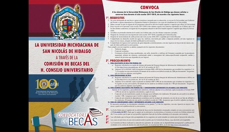 Para solicitar la beca por primera vez y conservar la misma, el alumno deberá de registrar solicitud en su cuenta de alumno del portal del Sistema Integral de Información Administrativa (SIIA) en la liga web: http://www.siia.umich.mx , con fecha límite del 31 de octubre de 2017
