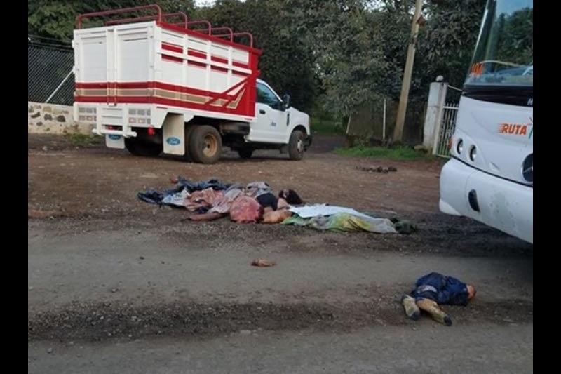 Al lugar arribaron elementos de la Policía Michoacán, los cuales confirmaron la información y resguardaron el sitio, para que personal de la Unidad Especializada en la Escena del Crimen (UEEC) realizara el levantamiento de los cuerpos