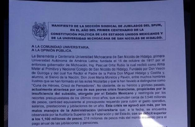 En rueda de prensa, el dirigente de los académicos, Gaudencio Anaya, señaló que la manifestación comenzará al filo de las 9 de la mañana desde la Plaza Jardín Morelos en la Avenida Tata Vasco y Acueducto
