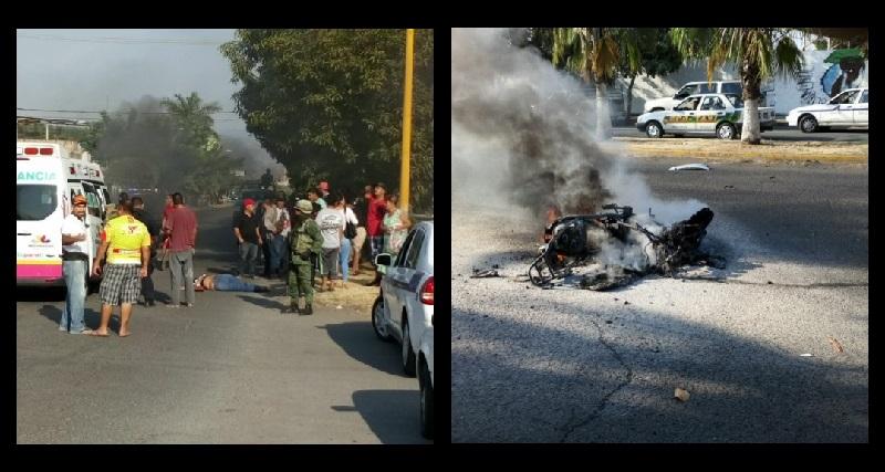 Testigos indicaron que un vehículo compacto fue el que los arrolló, para posteriormente darse a la fuga, quedando las personas tiradas y la motocicleta incendiándose, mientras se daba a la fuga el vehículo