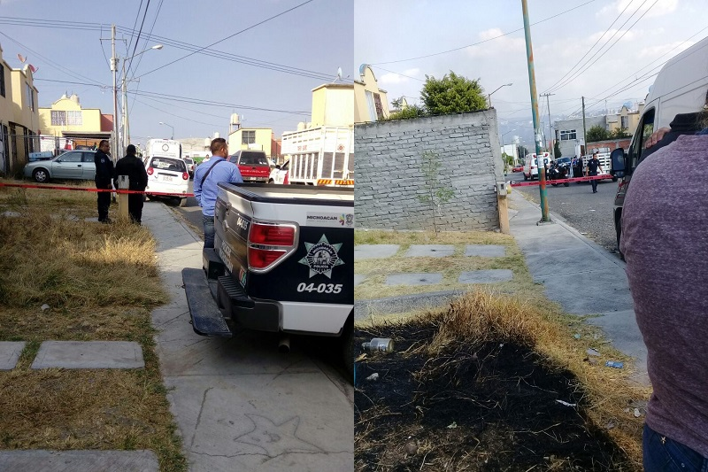 Al lugar arribaron elementos de la Policía Michoacán, quienes emprendieron la búsqueda del o de los agresores, pero sin resultados hasta el momento