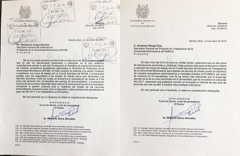 Solicita el rector Serna González que las mesas de diálogo puedan iniciarse lo antes posible, abordándose los temas relacionados con el pago de aguinaldo y prestaciones pendientes del 2017