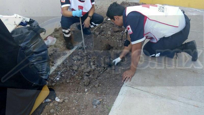 El hallazgo se registró minutos después de las 16:00 horas cuando elementos de la Policía Michoacán fueron alertados que en la calle Benamejí a la altura del número 237 en el área del patio fue localizado un hueso humano con ropa que estaba semienterrado