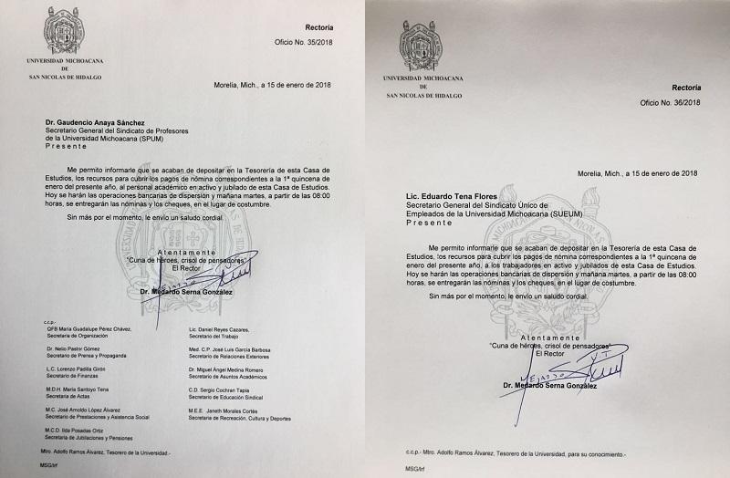 Esta tarde quedó radicado el recurso en la cuenta de Tesorería de la UMSNH: Serna González