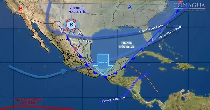 Asimismo, se prevé evento de Norte muy fuerte con rachas superiores a 70 kilómetros por hora (km/h) en el Istmo y el Golfo de Tehuantepec, y mayores a 50 km/h en el litoral del Golfo de México y la Península de Yucatán