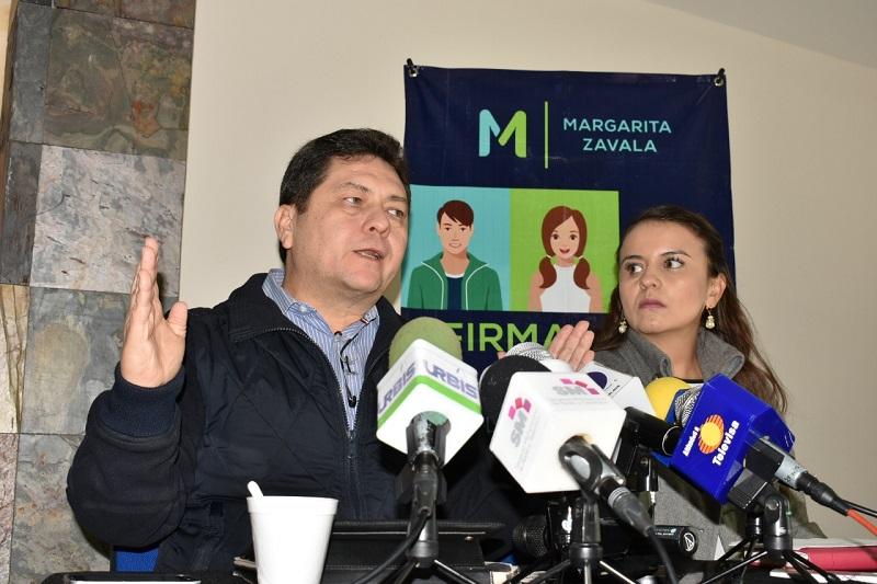 Sánchez Camargo aseguró que Margarita Zavala ya lleva 8 de 17 estados cumpliendo el 1% de su listado nominal que establece el requisito de dispersión